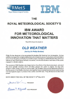 Our award certificate from the RMetS.