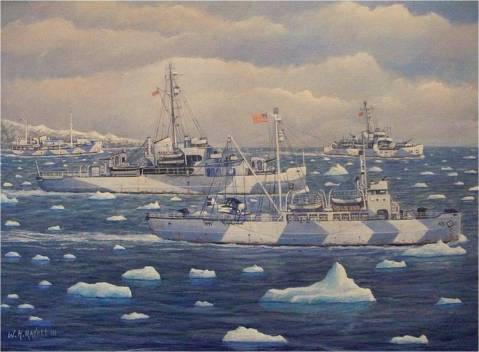 The Greenland Patrol. Original painting by William H. RaVell III, a retired United States Coast Guard Chief Warrant Officer. Used by permission of the artist. From top, left to right: the armed trawler Alatok, buoy tender Storis, the Wind-class icebreaker Eastwind, and the cutter Northland.