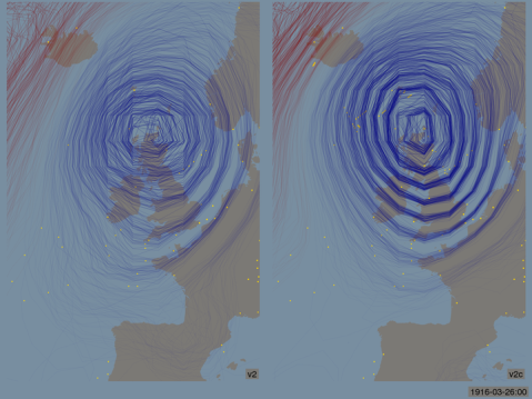 A spaghetti-contour plot of a storm in 1916 as reconstructed by the 20th Century reanalysis.  On the left, without oldWeather observations, on the right with the oldWeather ships added.